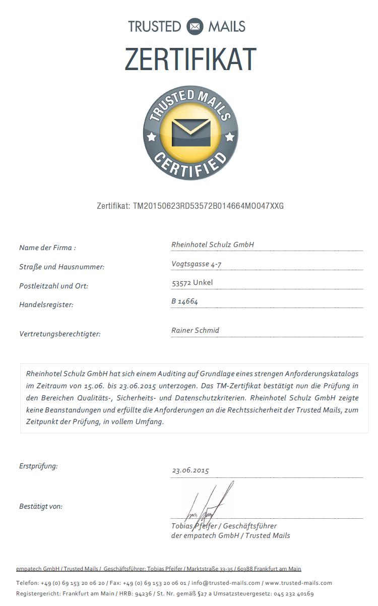 Trusted Mails Certified - Rheinhotel Schulz GmbH