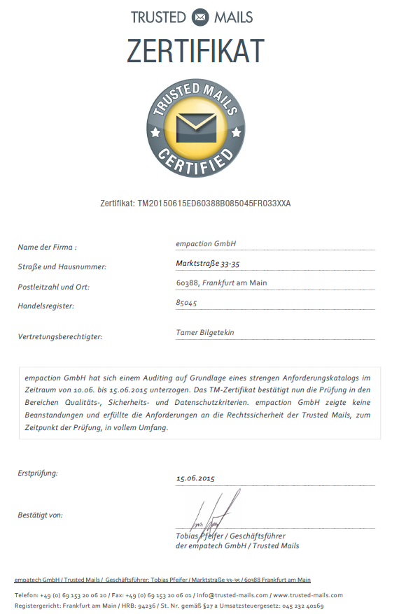 Trusted Mails Certified - empaction GmbH