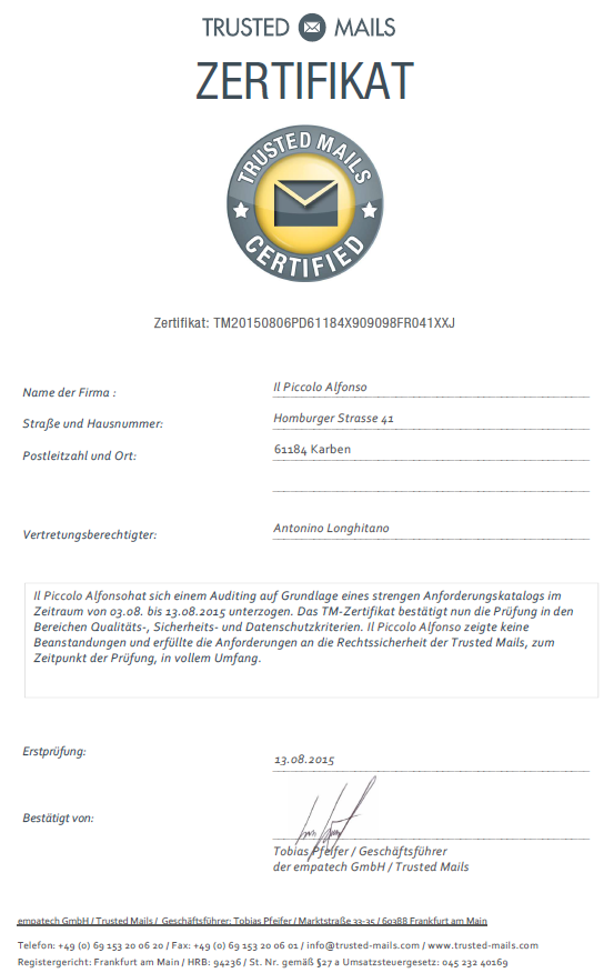 Trusted Mails Certified - Il Piccolo Alfonso